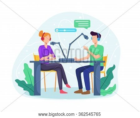 Podcast Concept Illustration. Male Radio Host Interviewing Guests On Radio Station. Podcast In Studi