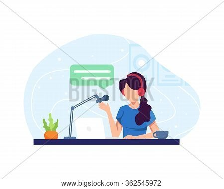 Podcast Concept Illustration. Female Podcaster Talking To Microphone Recording Podcast In Studio. Po