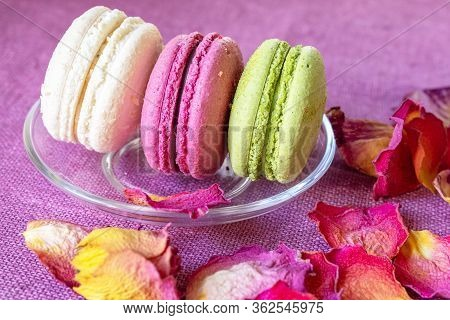Multi-colored Macaroons On A Transparent Saucer And Dry Rose Petals On A Purple Linen Napkin. Macaro