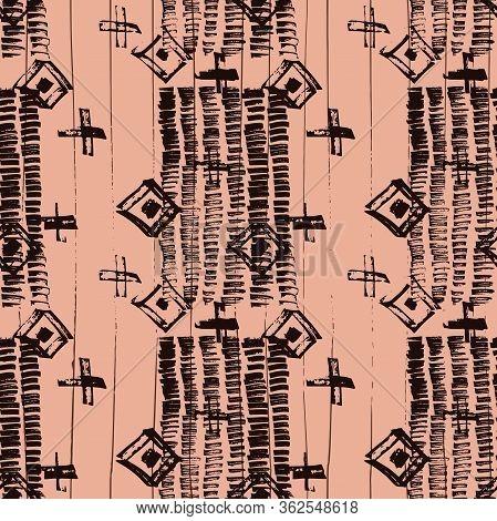 Tie Dye Japanese Geometric Organic Seamless Pattern. Geo Wabi Sabi Decorative Kimono Print. Scribble