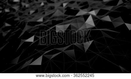 Abstract Background Black Dark Low Poly Triangles . Geometric Shapes Technical Science Wallpaper , G