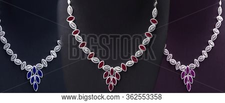 Three Necklaces Made Of White Gold Adorned With Jewels And Diamonds On The Puppet Show Accessories