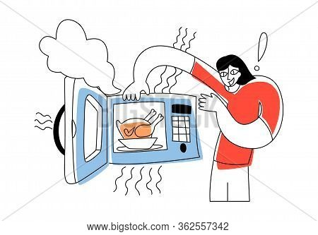 Vector Flat Illustration Young Happy Man Who Takes Ready Made Chicken Out Of Microwave. Concept Cook