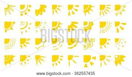Sun Flat Cartooon Icons Set. Sunny Corner With Rays Different Shapes For Logotype App. Decorative El