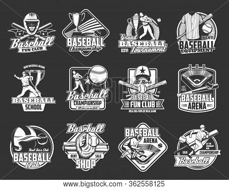Baseball Championship Cup And Sport Fan Club Vector Icons. Softball Game School Team Or University L