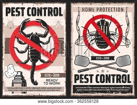 Pest Control And House Disinsection Service, Vector Vintage Retro Posters. Domestic Disinfestation,