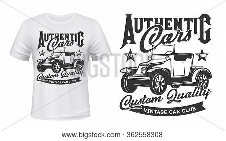 Retro Cars Club And Vintage Rally Vehicles Club, Vector Icon Ant T-shirt Grunge Print Template. Cust