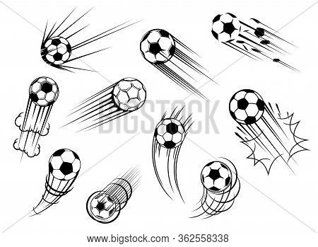 Soccer And Football Ball Flying With Goal Kick Trace, Vector Icons. Soccer Sport Club And Football C