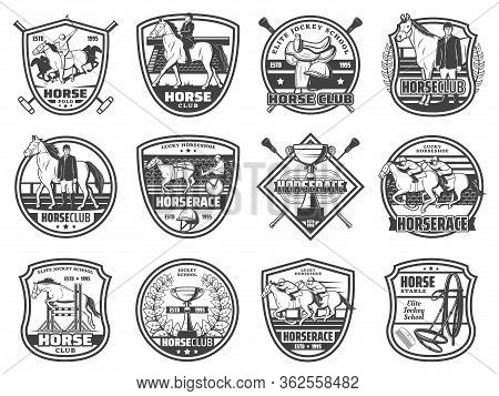 Equestrian Sport, Horse Races And Polo Club, Vector Badges And Emblems. Equine Racing And Jockey Rid