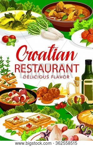 Croatian Cuisine Restaurant Menu Cover, Traditional Authentic Food Meals And Dishes. Croatian Poplet
