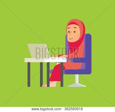 Work From Home. Muslim Woman Stay Connecting With People Trough Social Media With Laptop. Malay Woma