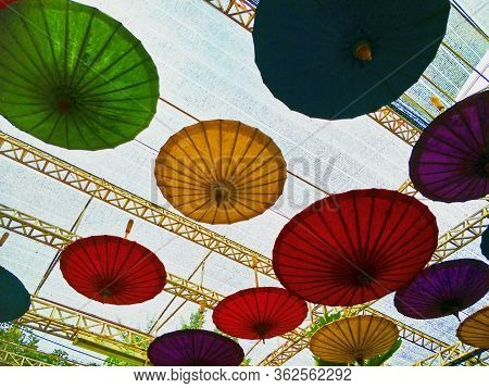 Flower Festival Decoration With Umbrellas  Sunshade, Thailand, Tradition, Traditional