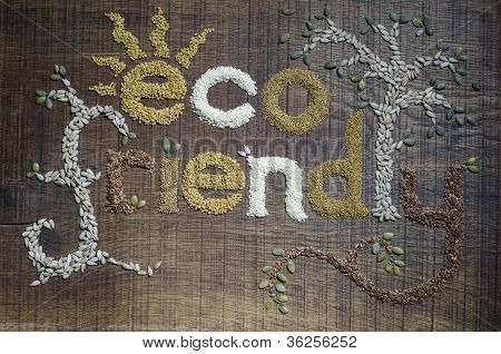 The Phrase 'eco Friendly', Written And Decorated In Seeds