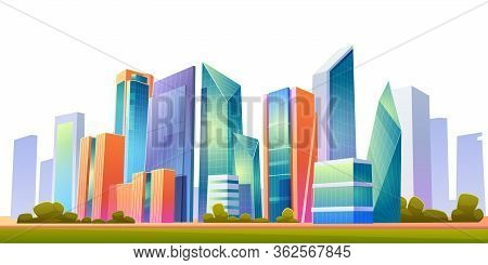 Urban Cityscape Panoramic Banner Vector Cartoon Illustration With Buildings, City Skyline With Skysc