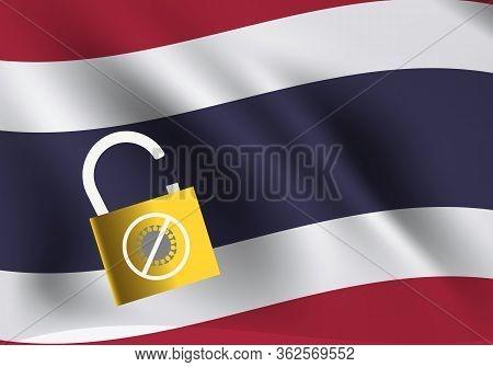 Concepts Of Unlock Thailand From Quarantine After Coronavirus Outbreak. Illustration Of Thailand Fla