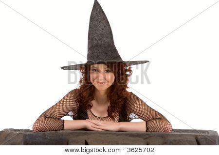 Smiling Read Head Teen Girl In Halloween Hat