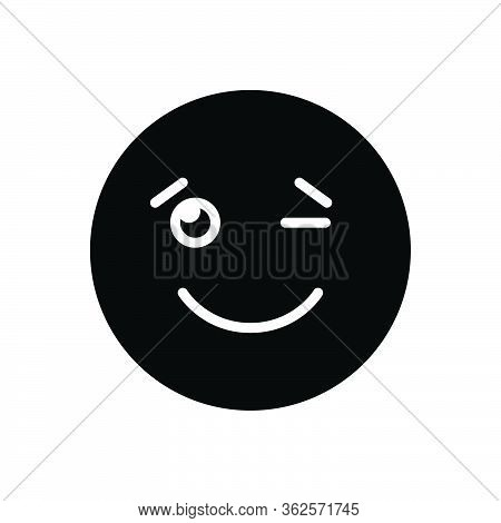 Black Solid Icon For Wink Signals Expression Eyelid