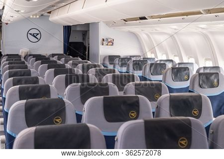 Frankfurt Germany 18.11.19 Condor Air Airplane Interior Seat Rows With Logo Inside A Boeing Airplane