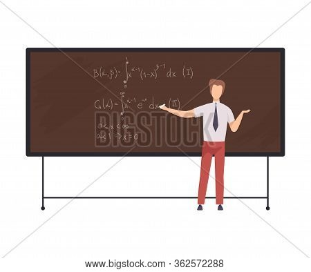 Male Math Teacher Professor Teaching Students While Standing In Front Of Chalkboard Flat Vector Illu