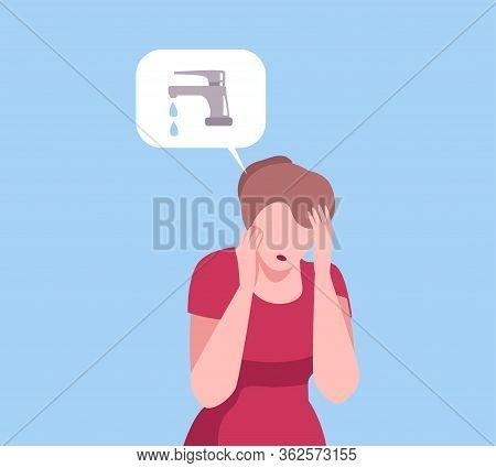Young Woman Thinking About Leaking Water Tap, Person Communicating With Speech Bubbles Flat Vector I