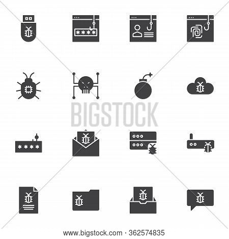 Hacker Attack Vector Icons Set, Modern Solid Symbol Collection, Cyber Phishing Fraud Filled Style Pi