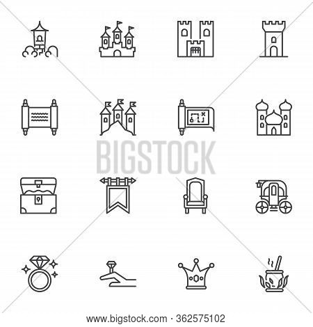 Fairytale, Fantasy Line Icons Set, Outline Vector Symbol Collection, Fairy Tale Linear Style Pictogr