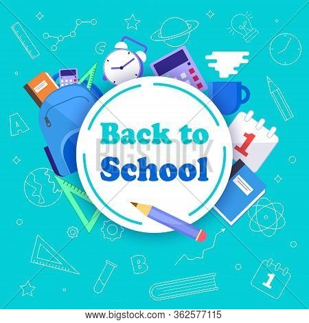 Back to school with school items and elements. vector banner design. Back to school banner, vector banner set of schoolbags, back to school concept Back to school sale banner.