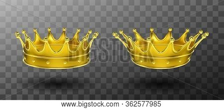 Golden Crowns For King Or Queen Set Isolated On Transparent Background. Crowning Headdress For Monar