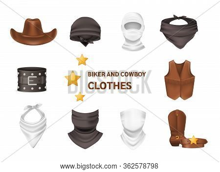 Realistic Biker And Cowboy Clothing Vector Isolated