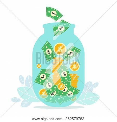 Money Jar. Savings And Investing Money Coins. Finance, Investment. Jar, Piggy Bank With Money, Woman