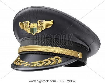 Civil Pilot Hat With The Badge Isolated On White Background - 3d Illustration