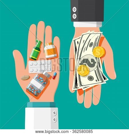 Hand With Pile Of Money And Bottles Of Drugs And Pills. Health Insurance And Healthcare. Buying And