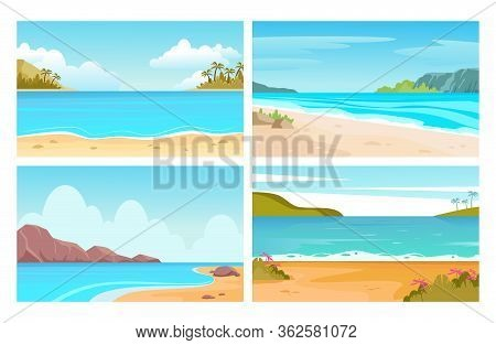 Beach, Sea Landscapes. Tropical Seascapes With Mountains, Beach And Palm Trees