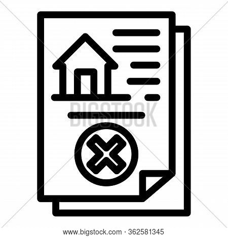 Demolition House Document Icon. Outline Demolition House Document Vector Icon For Web Design Isolate