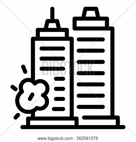 Demolition Sky Towers Icon. Outline Demolition Sky Towers Vector Icon For Web Design Isolated On Whi