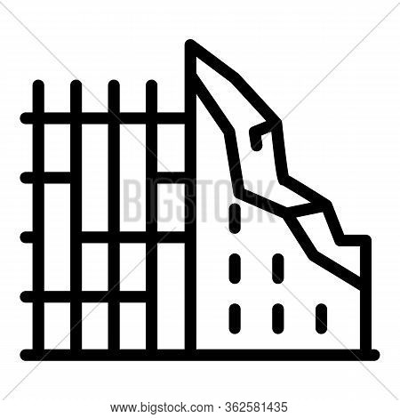 Breaking Construction Icon. Outline Breaking Construction Vector Icon For Web Design Isolated On Whi