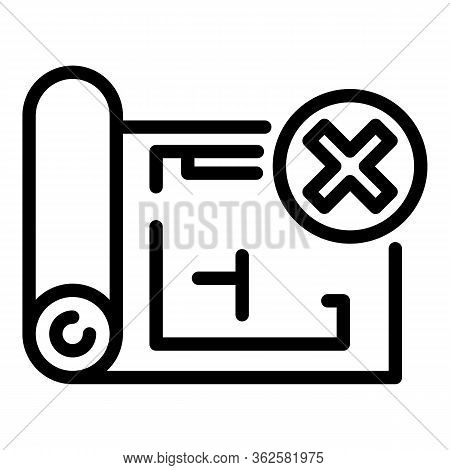 Demolition Rejected Plan Icon. Outline Demolition Rejected Plan Vector Icon For Web Design Isolated