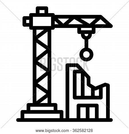 Demolition Building Crane Icon. Outline Demolition Building Crane Vector Icon For Web Design Isolate