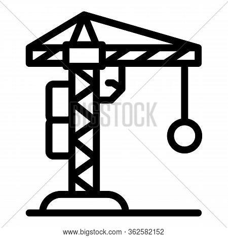 Demolition Construction Crane Icon. Outline Demolition Construction Crane Vector Icon For Web Design