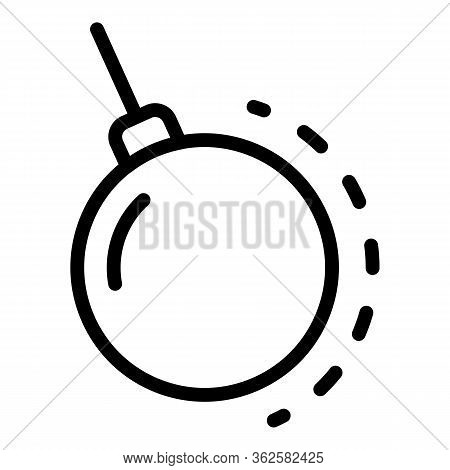 Big Wrecking Ball Icon. Outline Big Wrecking Ball Vector Icon For Web Design Isolated On White Backg
