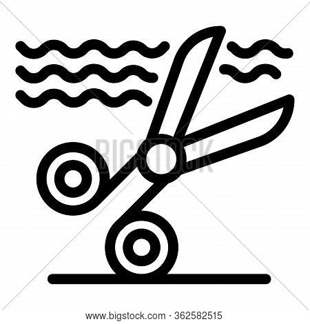 Stylist Scissors Icon. Outline Stylist Scissors Vector Icon For Web Design Isolated On White Backgro