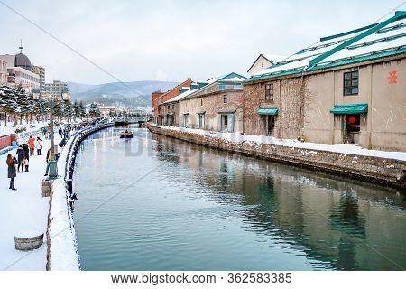 Otaru, Hokkaido, Japan - December 2019 : Otaru Canal In Winter With Twilight Light. One Of Beautiful