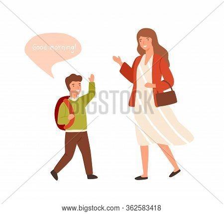 Smiling Cartoon Well Mannered Boy Greeting Adult Woman Vector Flat Illustration. Cartoon Schooler Gu