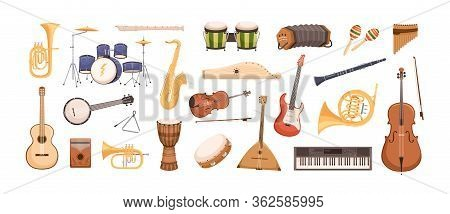 Colorful Collection Of Various Musical Instruments Isolated On White Background. Strings, Brass, Per