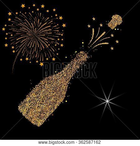 Happy New Year. Gold Glitter 2019. Champagne Icon. Silhouette Of A Champagne Bottle. Vector Illustra