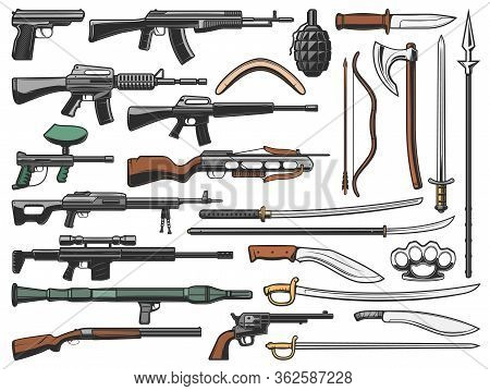Weapon Vector Icons, Military Ammunition Bullet Gun, Automatic Shotgun, Grenade And Bomb Launcher. A
