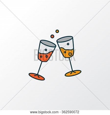 Stemware Icon Colored Line Symbol. Premium Quality Isolated Cheers Element In Trendy Style.