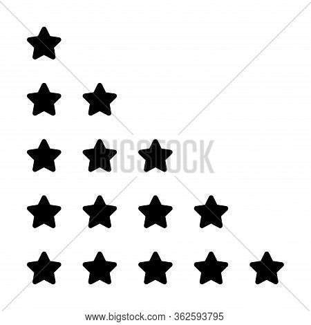 Rating 5 Stars Black For Review Isolated On White, Five Stars For Ranking Award, Cute Stars For Choi