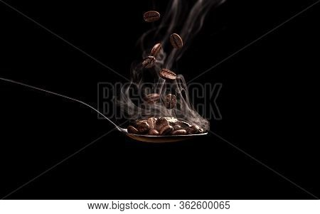 Spoon With Coffee Beans And Steam On Black Background