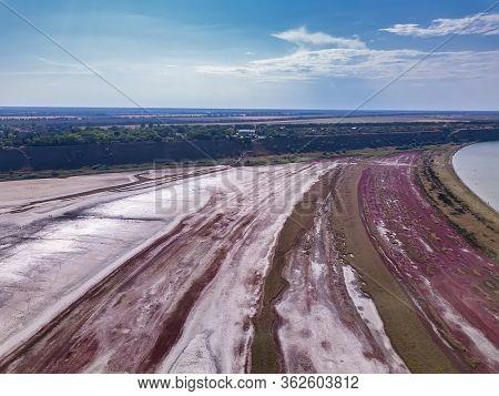 Amazing Beauty Of Drying Urortnoe Estuary From Bird's Flight. Top View Of Coastal Zone Of Ecological